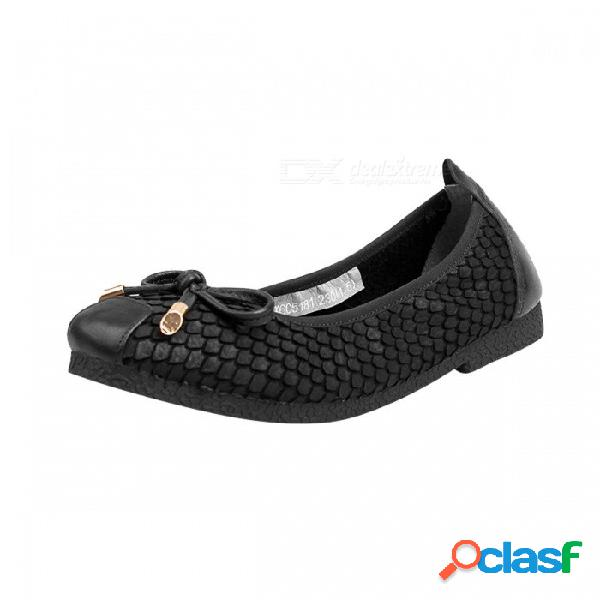 Primavera / otoño zapatos de mujer retro cuero genuino plana suave punta redonda bowknot barco zapatos para mujer negro / 34