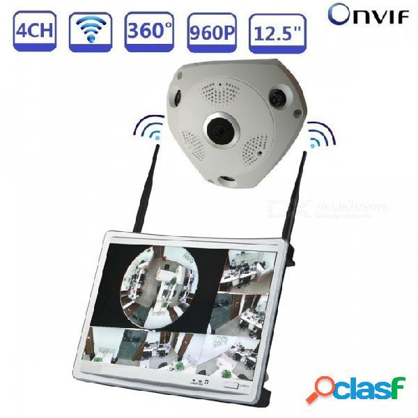 """Strongshine 4ch 960p sistema de seguridad para el hogar cctv con audio nvr wi-fi de 12.5 """"con cámara panorámica ipc 1.3mp - enchufe de la ue"""