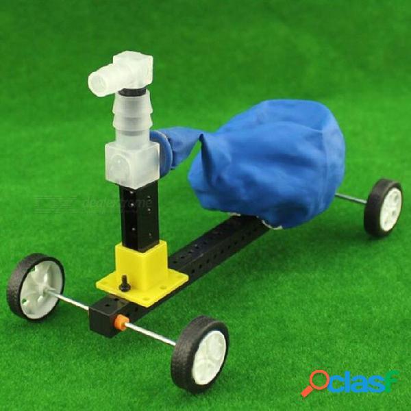 Tecnología de bricolaje equipo experimental, juguete educativo con globo alimentado por automóvil (globo de color aleatorio) - negro