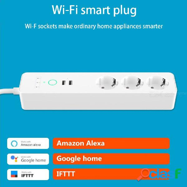Wifi smart power socket voice remote control switch with 3 ac outlets 2 usb port for amazon alexa google home