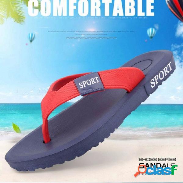 Zapatillas de playa de verano para hombre moda casual eva antideslizante ligeras ligeras al aire libre chanclas negro / 40
