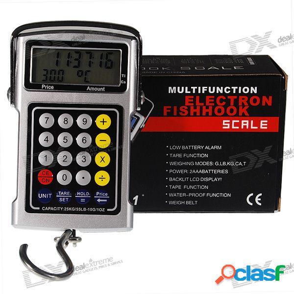 5-en-1 25kg lcd colgando escala de gancho digital + calculadora de precios + cinta métrica + reloj + termómetro
