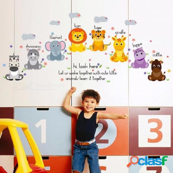 Animales lindos pvc pegatinas de pared para la habitación de los niños, calcomanía de papel tapiz de dibujos animados para decoración de la habitación del bebé en casa multi