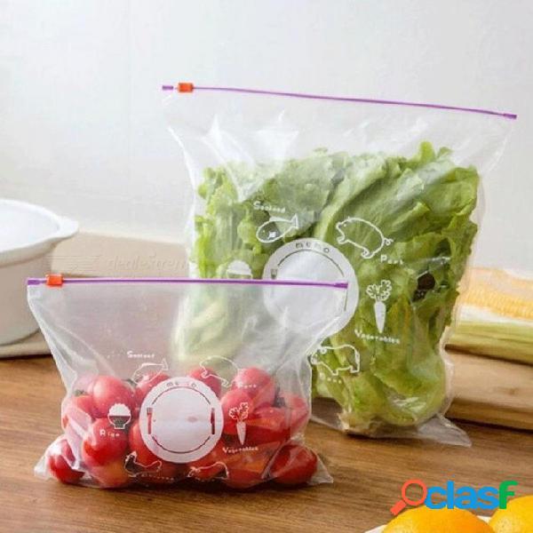 Bolsa de la cremallera fresca reutilizable congelación bolsa de almacenamiento de alimentos bolsa de conservación de vacío versátil bolsa sellada accesorios de cocina 10 unids 10 unids