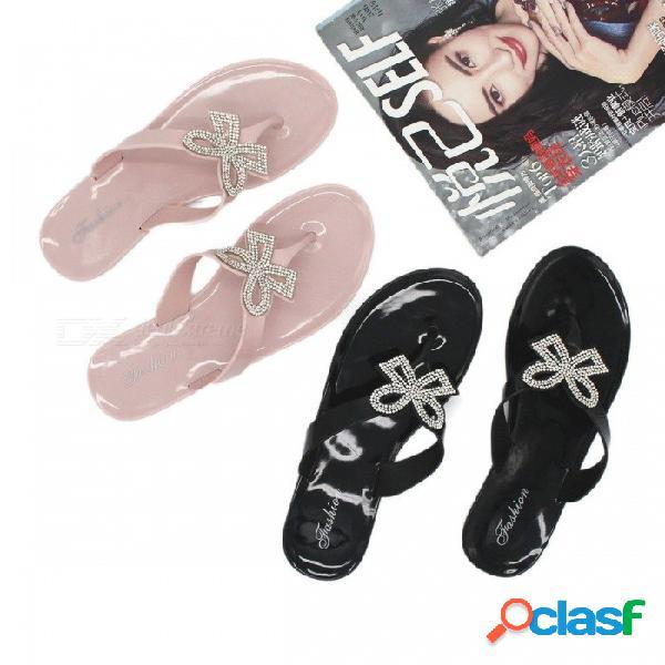 Crystal bow gelatina sandalias mujeres sandalias marca bowtie zapatillas de playa sandalias de playa para mujer negro / 36