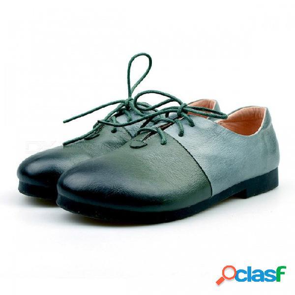 Hecho a mano de cuero genuino colores mezclados rome mujeres // 's zapatos de punta redonda con cordones zapatos de puntada manual para mujeres azul cielo / 40
