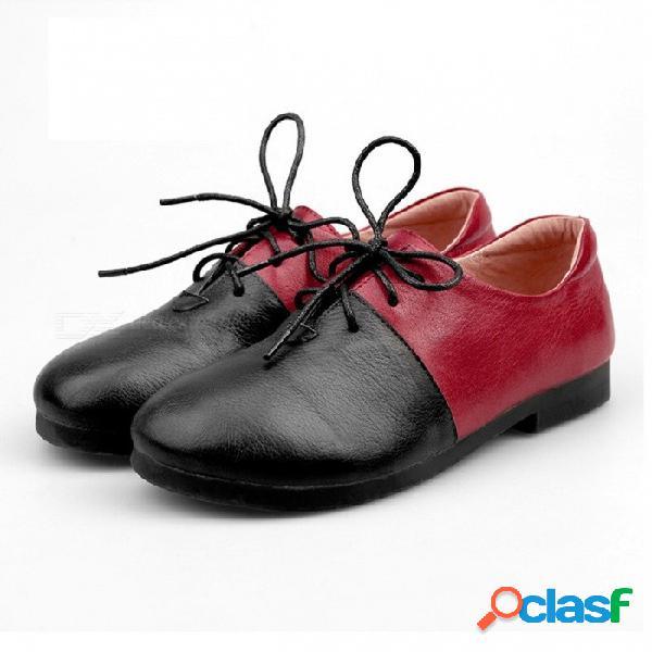Hecho a mano de cuero genuino colores mezclados zapatos de punta redonda de las mujeres con cordones zapatos de punto manual para mujeres rojo / 40