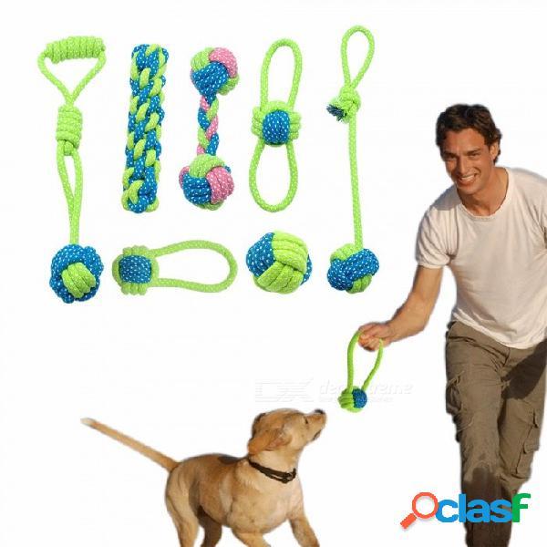 Juguete de cuerda para perros de algodón, cachorro de nudo, juguete para la dentición, limpieza de dientes juego de pelota para mascotas para perros pequeños, medianos y grandes