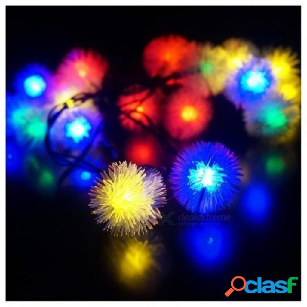 Led 4.8m 20 led luces solares al aire libre luces de hadas bola de nieve con energía solar para el jardín exterior, fiesta, fiesta, colorido colorido