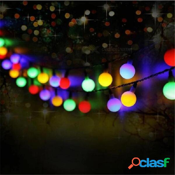 Luces de cadena de led con luz solar para exteriores 50 leds bola globo luces de tira para exterior jardín patio fiesta navidad blanco