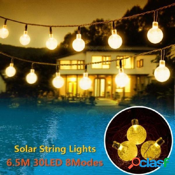 Luces de la secuencia al aire libre llevadas accionadas solares 6m 30leds bola de cristal luces de tira de hadas para el patio exterior del jardín navidad azul
