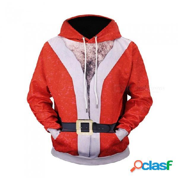 Navidad otoño invierno casual con capucha sudaderas con capucha impresión 3d santa claus chaqueta suelta sudaderas para hombres l61003 # rojo / m