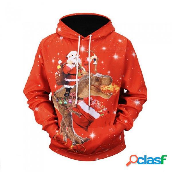 Navidad otoño invierno casual con capucha sudaderas con capucha rojo impresión 3d dinosaurio de santa claus suelta sudaderas para hombres rojo / m