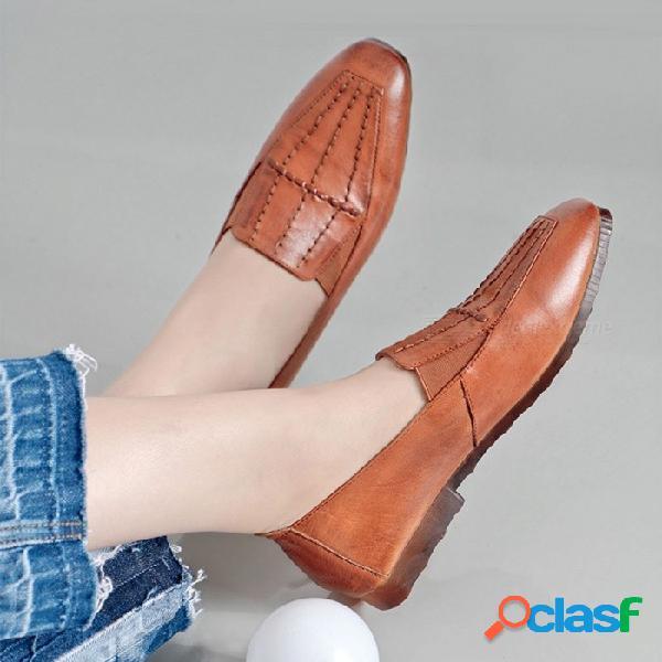 Nueva primavera zapatos de mujer zapatos de roma oxford de cuero genuino con punta cuadrada zapatos planos suaves para mujeres naranja / 40
