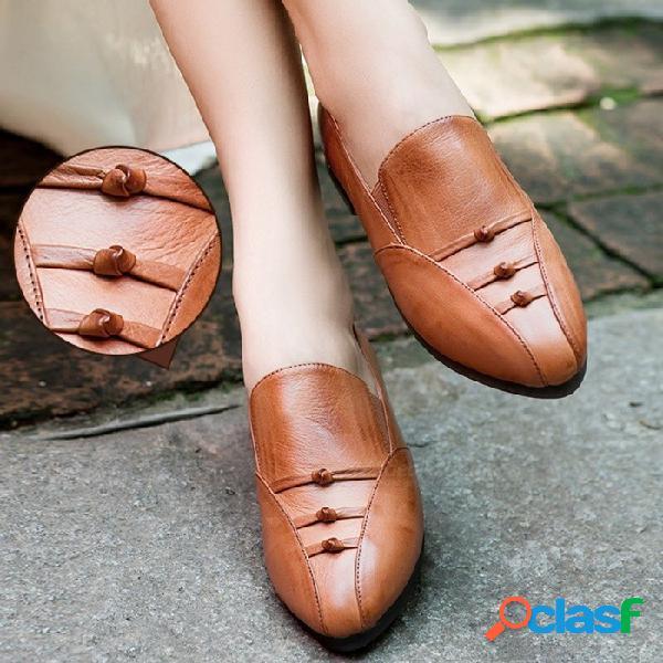 Nuevos zapatos de mujer hechos a mano oxford cuero genuino punta redonda color sólido zapatos planos suaves para mujeres chocolate / 40