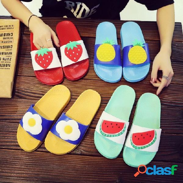 Zapatillas zapatos de verano de dibujos animados de fruta encantadora señoras zapatillas de playa zapatos de plataforma antideslizantes ocasionales para mujeres verde / 39