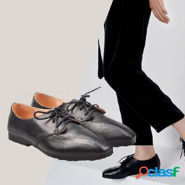 Zapatos de mujer de cuero genuino oxfords punta cuadrada poco profunda con cordones zapatos casuales negro / 40
