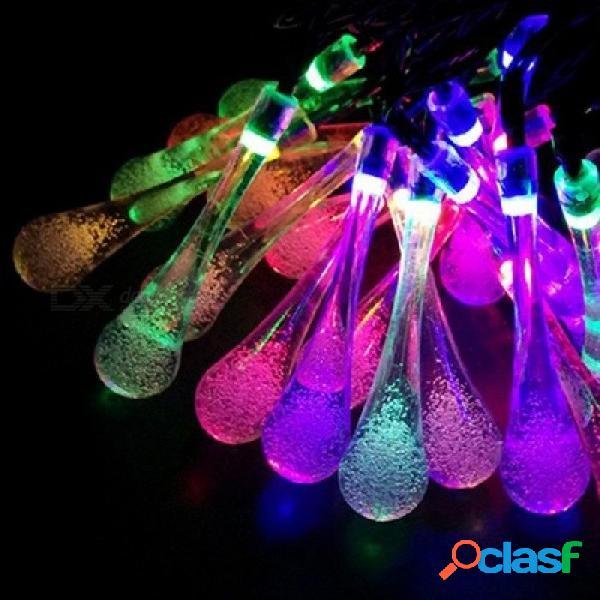 7m led gota de lluvia con energía solar luces de la secuencia al aire libre para exterior patio del patio fiesta navidad 2 modos luces multicolores 5m 20leds / azul
