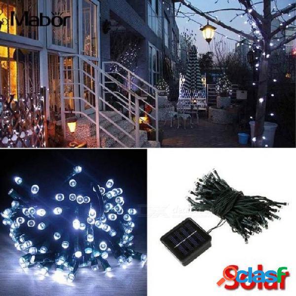 Bombilla de luz de hadas de 100 leds de energía solar bombilla 12m para el jardín de navidad decoración al aire libre blanco impermeable blanco negro