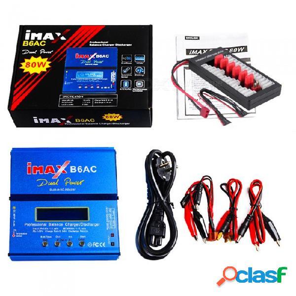 Imax b6ac 80w 6a cargador de batería de doble balance batería lipo nimh nicd con pantalla lcd digital + tablero de enchufes t
