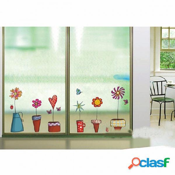 Jardín de flores de la planta pegatinas de pared de zócalo, ventana de zócalo calcomanía de etiqueta de pvc para la sala de estar dormitorio decoración del hogar multi