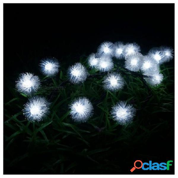 LED 4.8m 20 LED Solar Al Aire Libre Luces De Hadas Bola De Nieve Con Energía Solar Para Exterior Jardín Patio Fiesta Navidad Color Blanco 4.8m