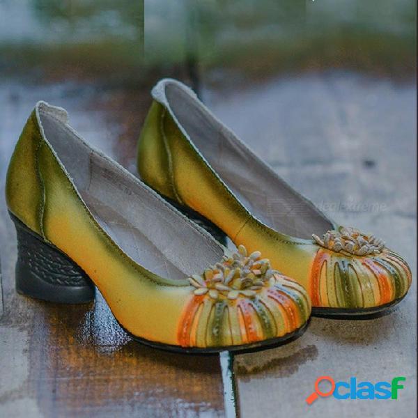 Nuevos zapatos de mujer hechos a mano retro nacional de cuero genuino flor tacones altos zapatos suaves literarios amarillo claro / 40