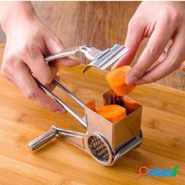 Rallador de queso rotatorio acero inoxidable rebanador de queso cocina queso cortador de mantequilla para pastel de fondue de chocolate herramientas para hornear blanco