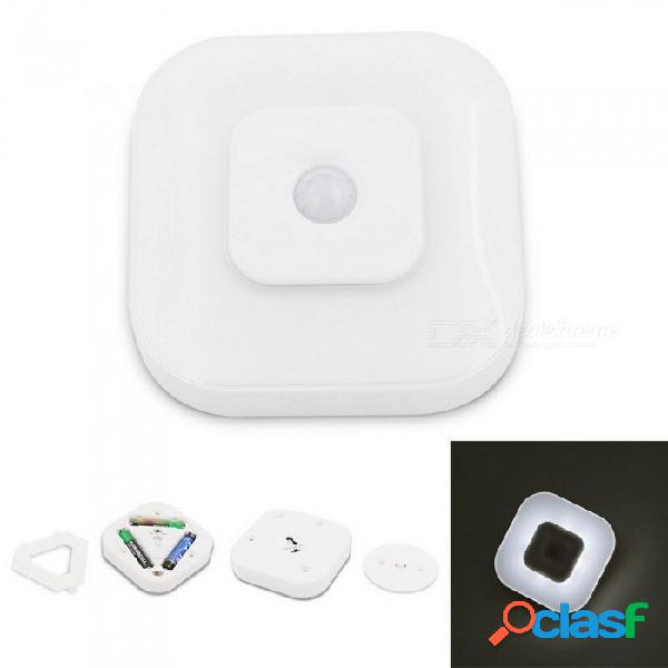 Sensor de movimiento por infrarrojos led luz nocturna mini portátil ir lámpara de detección luz de emergencia blanco / blanco