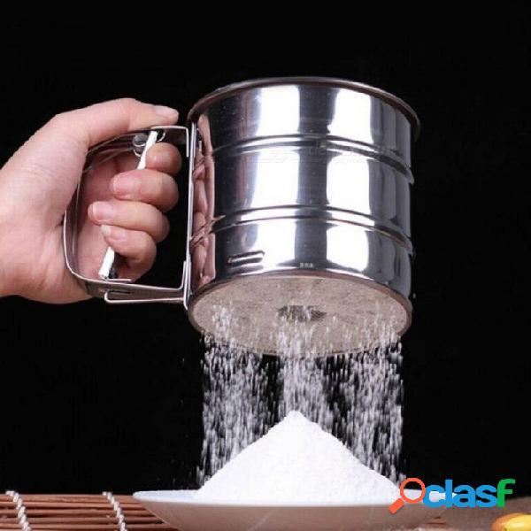 Tamiz de tamiz de tamiz de tamiz de tamiz de tamiz de harina de acero inoxidable ecológico taza herramienta de cocina para hornear pastel con color plata acero inoxidable