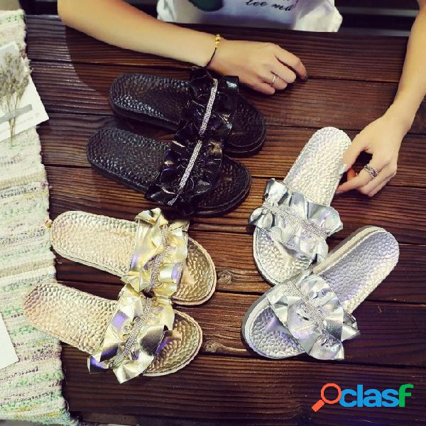 Zapatillas de diamantes de imitación flip flop mujeres cristal diamante bling sandalias de playa de volantes zapatos casuales para mujeres negro / 36