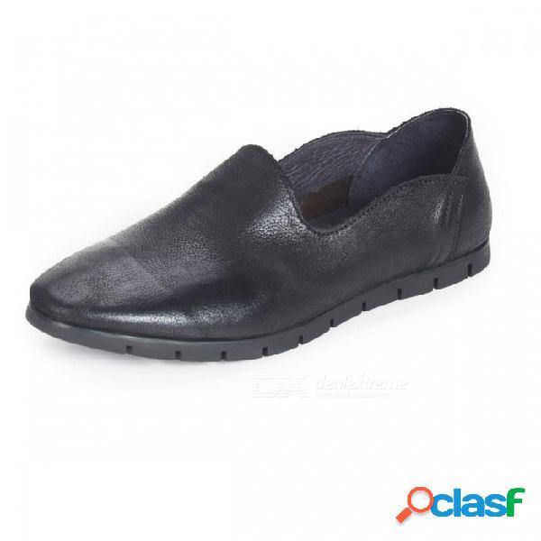 Primavera / otoño zapatos de hombre zapatos de cuero retro genuinos planos suaves y transpirables transpirables para hombres negro / 38