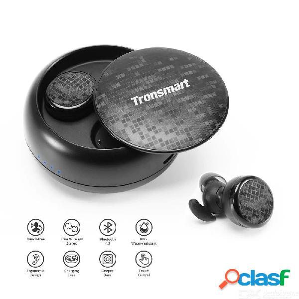 Tronsmart encore spunky waterproof wireless bluetooth stereo earphone w/1pc usb charging cable, 1 pair of extra earbuds