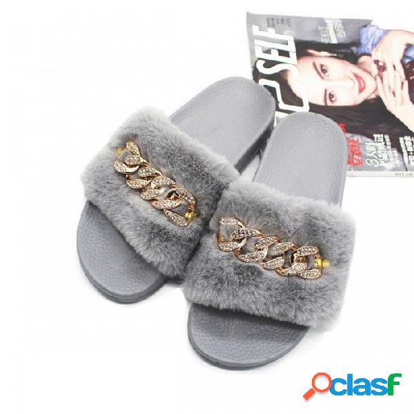 Zapatillas peludas de piel sintética antideslizantes zapatillas de cristal de moda de felpa fluff flock flop flops para interiores para mujer negro / 36
