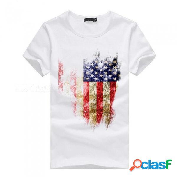 Camiseta de manga corta de algodón casual para hombre modelo de la bandera americana 3d para hombres