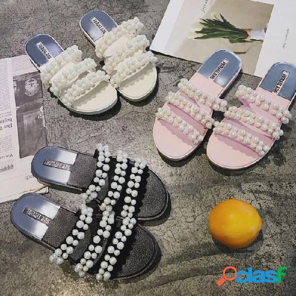 Cuentas de perlas de moda decoradas sandalias planas para mujeres resistentes a la abrasión zapatillas de verano casual negro / 36