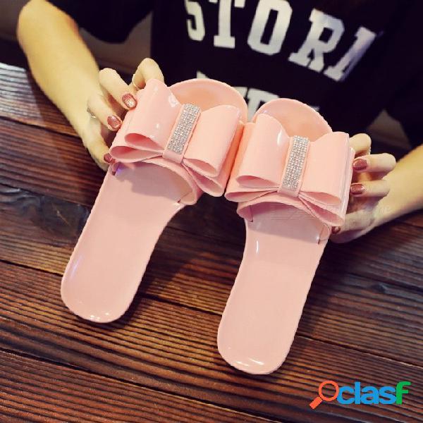 Lentejuelas bowknot verano sandalias planas para mujer casual color sólido zapatos de playa para mujer zapatillas negro / 36