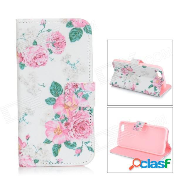 Patrón de flores flip-abierto de cuero pu caja w / stand / ranuras de tarjeta para iphone 6 - blanco + rosa