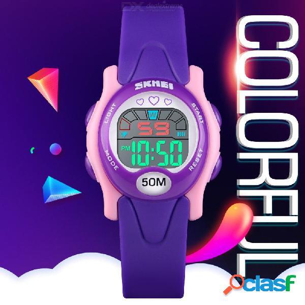 Skmei multi función infantil reloj colorido puntero luz impermeable deporte relojes digitales para el estudiante