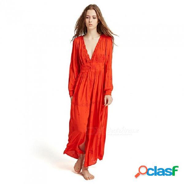 Vestido de playa bohemio manga larga linterna con cuello en v color sólido maxi vestidos para mujeres naranja / s