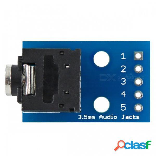 Conector de audio de 3,5 mm para dip placa de adaptador de audio de 2 canales para el bricolaje - azul + negro