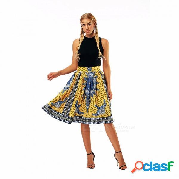 Falda casual de la impresión digital de la moda de verano de las mujeres faldas casuales niñas de cintura alta falda de la manera amarilla / s
