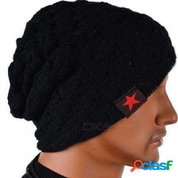 Invierno cálido sombrero de moda para hombres cráneo mujeres gruesas de punto gorro reversible holgado gorro de nieve cálido sombrero unisex m003 marino