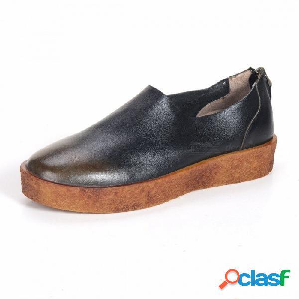 Primavera / otoño zapatos de mujer retro genuino de cuero con cremallera plataforma suave literario mocasines de punta redonda zapatos para mujeres negro / 34