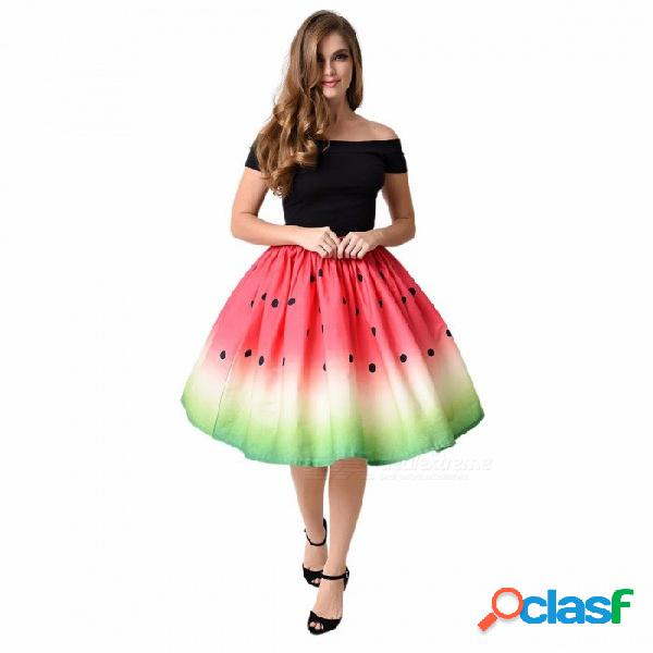 Verano creativo sandía impresión digital falda de las mujeres casual rodilla-longitud falda femenina niñas moda falda