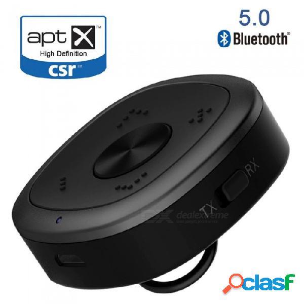 Aptx hd bluetooth 5.0 transmisor receptor de audio inalámbrico sin pérdida de baja demora para pc tv auriculares csr8675 negro