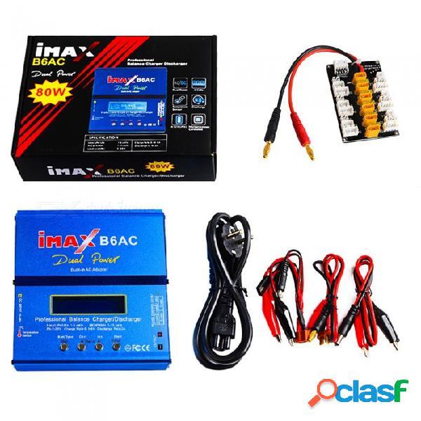 Cargador de batería de doble balance imax b6ac 80w 6a con pantalla lcd digital + tablero de enchufes xt30