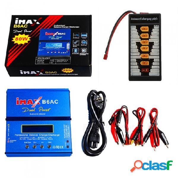 Cargador de batería de doble equilibrio imax b6ac 80w 6a con pantalla lcd digital + tablero de enchufes xt60