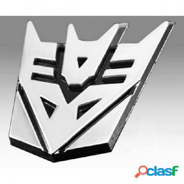Etiqueta engomada del coche de los transformadores del metal 3d para la cola auto de la ventana del logotipo del coche, decoración del cuerpo de coche que diseña el coche calcomanía de plata