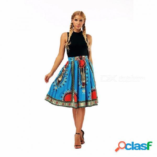 Falda casual de la impresión digital de la moda del verano de las mujeres faldas femeninas de cintura alta falda elegante real azul / s